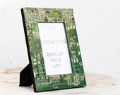 Picture frame - geek home decor - green circuit board photo frame