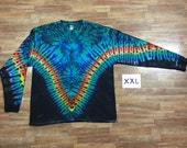 Tie Dye T-Shirt ~ Rainbow /Black V with Aqua Spider i1794  Long Sleeve Double Extra Large