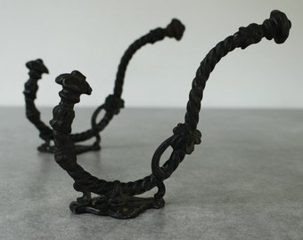 Pair French Vintage Coat and Hat Hooks....Barley Twist Metal ...Lovely Authentic Pieces.