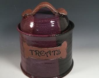 Dog Treat Jar - Pet Treat Jar - Ready to Ship - Purple and Black - Dog Bone Accent- ceramics - pottery - stoneware - pets - feeding