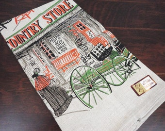 Linen Hand Towel - Early American Mercantile Theme by Stonelea Mills - NWT
