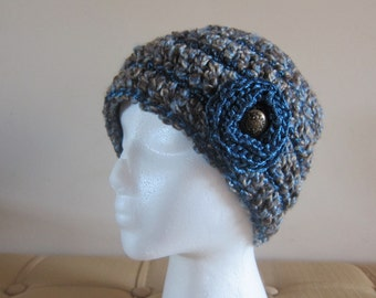 Teal Metallic Beanie for Women, Womans Hat with Flower, Crocheted Beanies, Womens Beanies, Beanies with Flower, Teal and Brown Hat