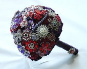 RESERVED FOR BRIDGET:  Balance on Wedding Package, Red, Purple, Silver Brooch Wedding Package