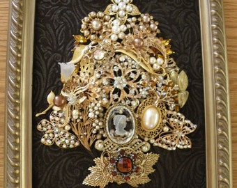 JEWELED CHRISTMAS TREE, Vintage and New Brooch Tree, Gold, Gorgeous Lucite Cameo,Pearl Brooches