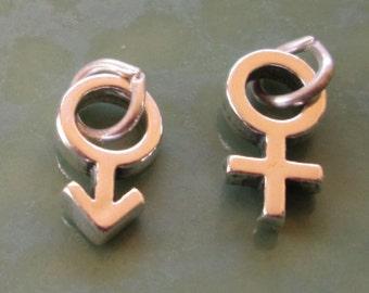2 Sterling Silver Charms Female and Male Symbol Man Women Jewelry Componants