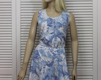 Vintage Blue Floral Dress by Cabrais Size 8