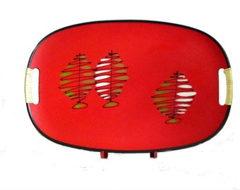 Red and Gold Abstract Pine Tree Tray Christmas Serving Platter Winter Holiday Bar Wrapped Handle Tilso Japan
