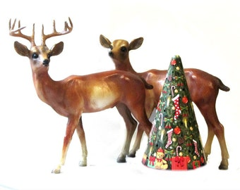 Extra Tall Standing Deer 10 Point Buck and Doe Plastic Holiday Reindeer One of a Kind Couple Mid Century Hong Kong