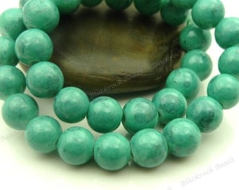 Dark Sea Green and Light Gray Swirled Round Glass Beads - 6mm Smooth Mottled Beads, Shiny Colorful Bohemian Beads - 32pcs - BL27