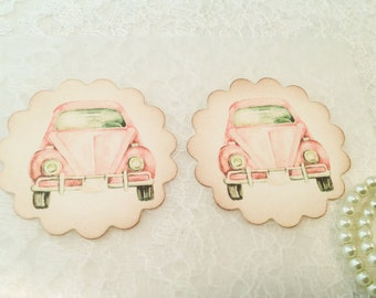 Retro Stickers-Pink Car Sticker Favor-Pink Volkswagon-Fun Stickers-Set of 12