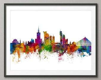 Warsaw Skyline, Warsaw Poland Cityscape Art Print (2385)