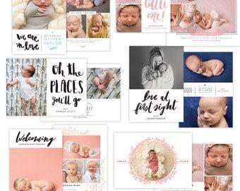 INSTANT DOWNLOAD - Photoshop Birth announcement templates bundle -  e1292