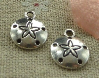16 Sand Dollar Charms Antique Silver 15 x 12 mm - ts1034