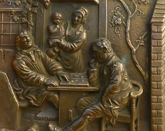 Antique French Bronze Plaque the Backgammon players by G Lieux