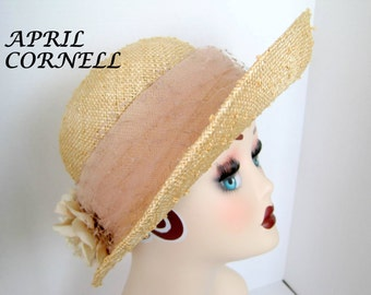 April Cornell Straw Hat - Wide Brim - Labeled Hat - Flowered Party Wedding
