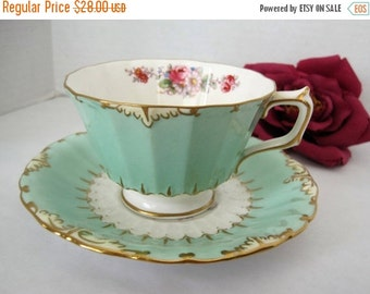 Royal Crown Derby - Aqua Cup and Saucer - Bone China England