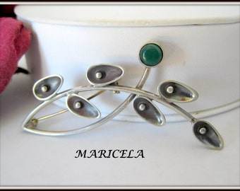 Mexican Silver Brooch - Signed Maricela Tasco - Estate Brooch - Sterling Silver Pin