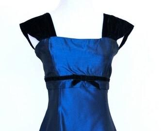25%OFF SALE 80's Vintage Prom Dress, Gunne Sax Dress, Blue Satin Prom Dress, Short Prom Dress
