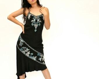 SALE 20%OFF 90's/20's Retro Black Beaded Dress, Silk Beaded Dress, Midi Dress, Asymmetrical Hem Dress, Women's 10