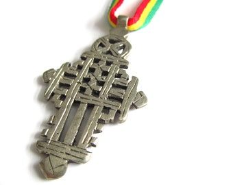 Ethiopian Cross Necklace - Rasta Necklace - Ethiopian Silver Cross Pendant on Red Gold and Green String - Rastafari Pendant - Reggae Jewelry