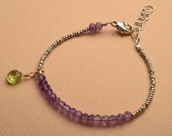 Chakra Bracelet, Chakra Jewelry, Hill Tribe Silver Beaded Bracelet, Amethyst Peridot Bracelet, Yoga Bracelet, Healing Gemstone Jewelry