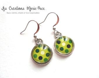 Glass Earrings, Cabochon Earrings, Green Earrings, Lime Green Earrings, Polka Dot Earrings, Modern Earrings, Polka Dot Jewelry, Gift For Her
