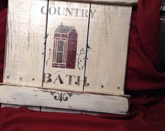 Hand Made Pallet Country Bath Distressed Sign - Bath Room decor