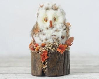 vintage Feathery Owl Sitting on Wood Log Owl Bird Figurine