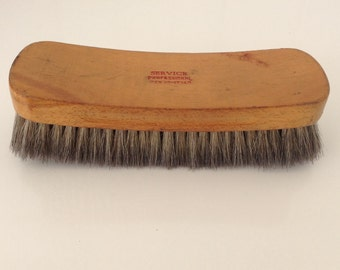 Vintage Shoe Shine Brush Service Professional 100% Horsehair