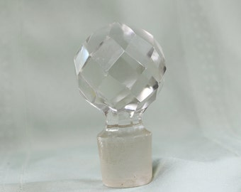 Large Glass Stopper- Vintage/ Antique Decanter replacement stopper- Crystal, faceted- Glass Ball- 1-1/4 inch diameter opening