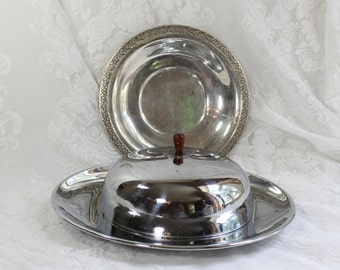 Chrome Covered Serving Set- Vintage Chrome and Silverplate Set of three pieces- Covered tray, serving tray, hotel service, breakfast in bed