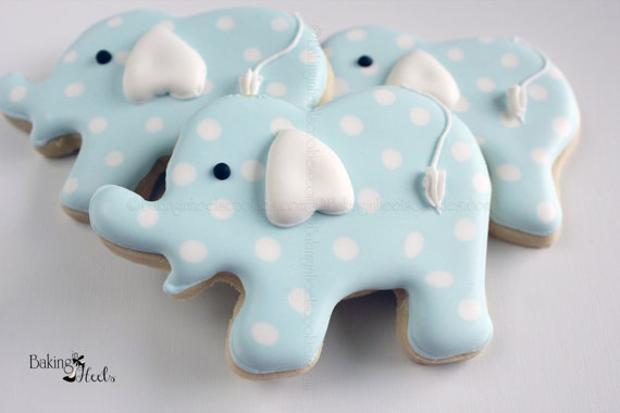 Elephant Baby Shower Cookies, Blue Elephant Cookies, Baby Boy Cookies, It's a Boy, Baby shower favors, White Polka dot, Polka dot Elephant