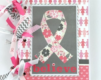 Breast Cancer Scrapbook Journal Mini Album Kit or Premade