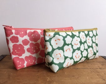 Floral Zipper Pouch, Laminate Cotton Pouch, Cosmetic Pouch, Pink and Green Floral, Cute Toiletry pouch