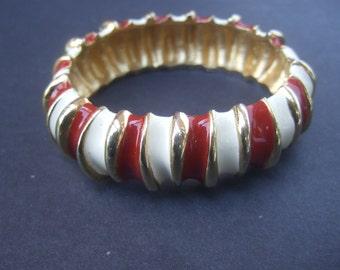Sleek Enamel Gilt Metal Hinged Bracelet