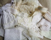Shabby Inspiration Kit Vintage Lace White and Cream with Doll Dress Glove Buttons Unique Items
