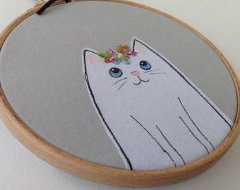 White cat hoop art. Cat lover gift. Cat wall art