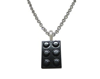 Black Building Block Toy Pendant Necklace