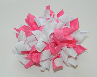 Hot Pink & White Korker Hair Bow