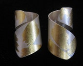 Artisan Signed Vintage Earrings are Curled Bands of Silver With Gold Brush Stroke Accents.  Modernist Abstract.