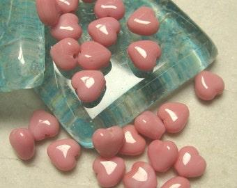 6mm Czech Glass Heart Beads in Pink.  20 pcs.
