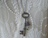Vintage Skeleton Key Necklace with Flower Bead
