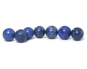 Lapis Lazuli Mini Spheres Polished Blue Semiprecious Gem, Charm, Wrapping Gems, Natural Gemstone, Pharaoh's Stone, 7 spheres, not drilled