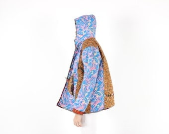 90s Indian Quilted RAINBOW Patchwork Hippie Festival Hooded Anorak Bomber Jacket w/ Hood