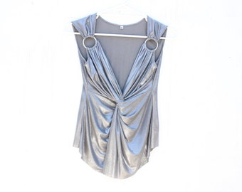 90s does 70s Metallic Grecian Drape Plunging Neckline V Neck Liquid Silver Disco Top