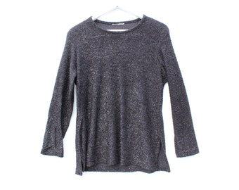 90s Minimal Fuzzy Glitter Textured Metallic Fitted Long Sleeve Sweater Top