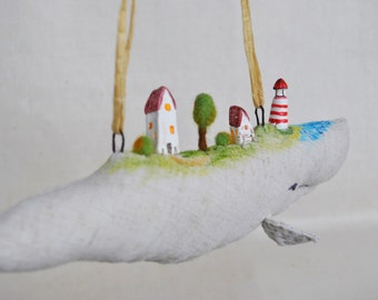 Whale and Little village Home decor Tiny village and lighthouse Whale nursery Animal Totem Whale wall art