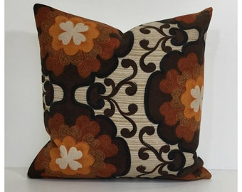 Cushion Cover Original 70s Vintage Brown Psychedelic Fabric , Retro Pillow Cover