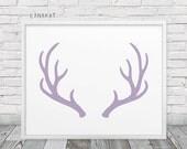 Violet Antlers. Light Purple Violet Pastel Silhouette Deer Antlers Woodland Antler Print. Modern Wall Art Home Office Decor. Printable File