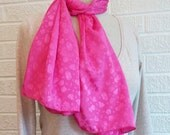 Hot Pink Jacquard Scarf, FREE Shipping Rectangle Scarf, Made in USA, Floral Accessory, Gift Idea, Affordable